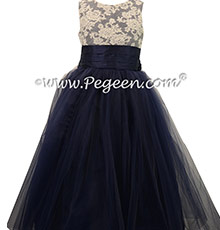 Navy Blue  Flower Girl Dresses WITH PEARLED BODICE