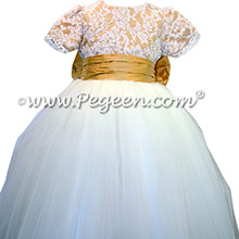 Aloncon Lace and Pure Gold Tulle Flower Girl Dresses by Pegeen
