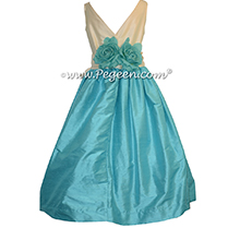 Couture Flower Girl Dress in Matisse Blue and Buttercream style 419