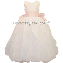 Antique White and Petal Pink flower girl dress Style 409