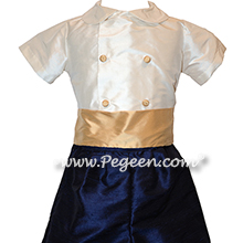 French Style Boys Ring Bearer Suit in New Ivory, Navy and Pure Gold