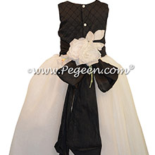 Black Pintuck and Pearls with Antique White ballerina style Flower Girl Dresses with Crystal tulle
