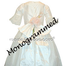 Antique White Silk Flower Girl Dresses trimmed with a Trailing Rose Style 694