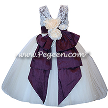 Deep plum tulle flower girl dresses with Aloncon Lace Couture Style 697