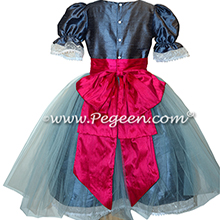 Arial Blue and Raspberry Tulle Nutcracker Party Scene Dress Style 703 by Pegeen