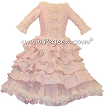 Cotton Candy Pink ballerina style Nutcracker Party Scene Dress for Clara with layers and layers of tulle
