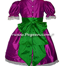 Berry (magenta) and Emerald green Nurtcracker Party Scene girl dresses