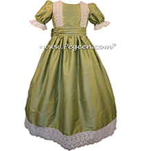 Sage Green Silk Nutcracker Party Scene Dress Style 751 by Pegeen