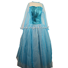 Blue Diamond Fairy Silk and Tulle flower girl dress silk with squined bodice for Elsa Frozen Themed Wedding