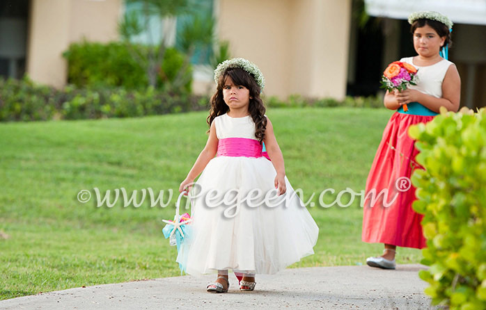 37eaea657a Hot pink (Boing) and ivory silk and tulle flower girl dress from the Pegeen  Classics Collection style 356