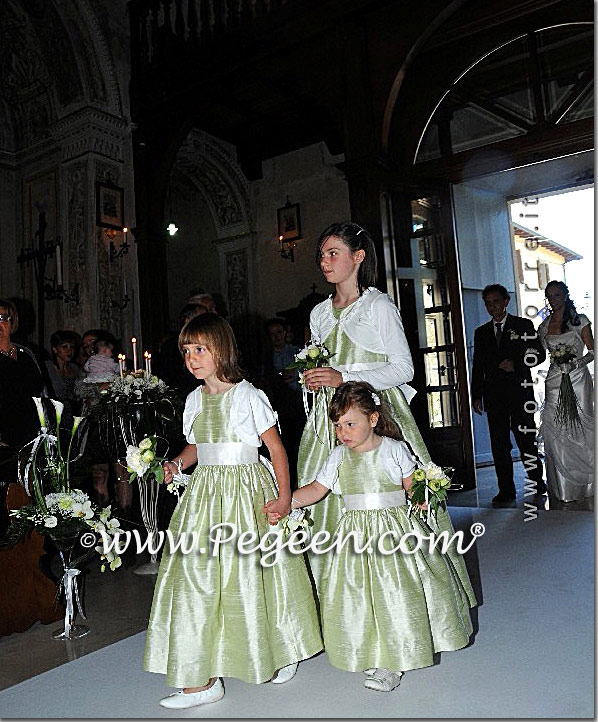 Light Green and Antique White Silk FLower Girl Dresses in Fanano, Italy Pegeen Style 345