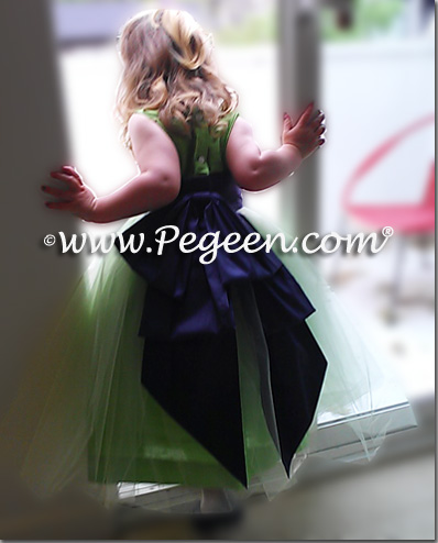 Sprite Green Tulle, Navy and Apple Green Silk Flower Girl Dresses - Pegeen Classic Style 394
