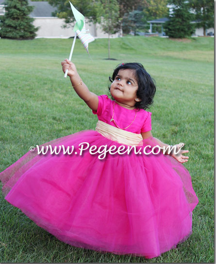 Infant Tulle Flower Girl Dress style 402 in Boing and Pure Gold silk