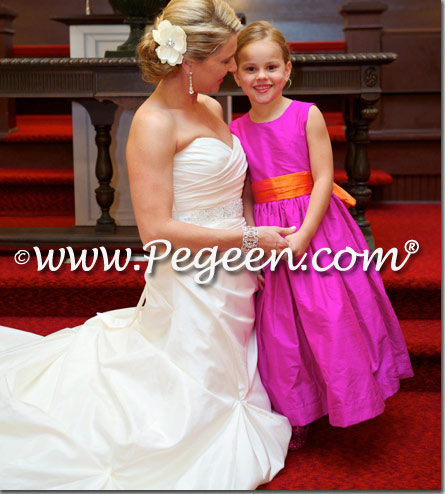 Flower Girl Dress style 345 in Boing and Mango silk
