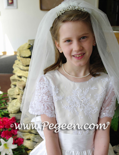 White and bisque FLOWER GIRL DRESSES with beaded aloncon lace