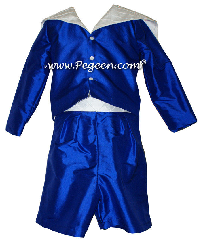 Ring Bearer Sailor Suit in Antique White and Sapphire Blue | Pegeen