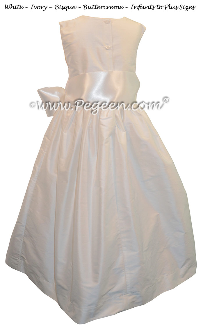 Style 300 in Amtique White Custom flower girl dresses