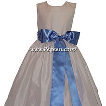 NEW IVORY AND FRENCH BLUE JR. BRIDESMAID DRESS STYLE 300 BY PEGEEN