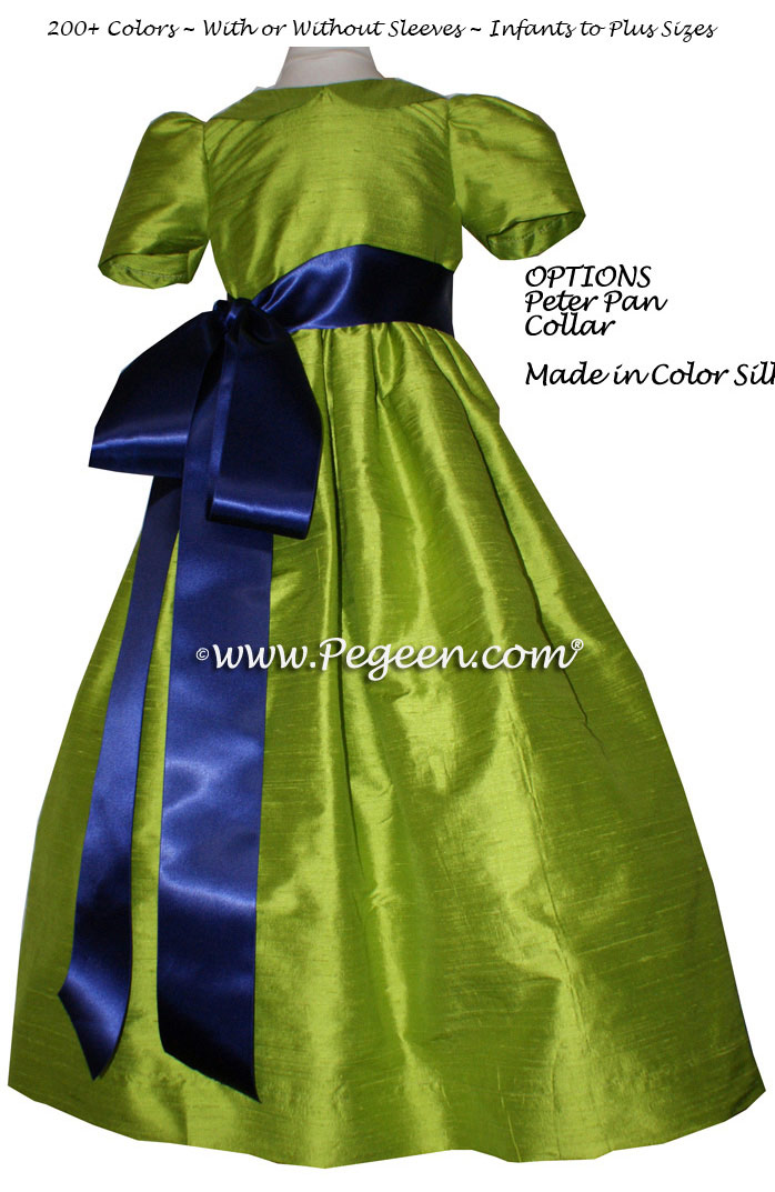 APPLE GREEN AND NAVY silk flower girl dresses
