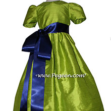 APPLE GREEN AND NAVY FLOWER GIRL DRESS Style 300 by Pegeen