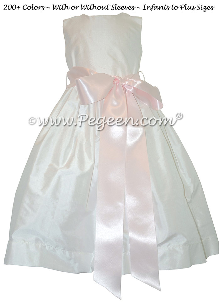 Style 300 Flower Girl Dress in New Ivory and Pink Ribbon Silk Sash