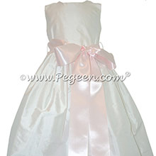 New Ivory and Petal Pink silk flower girl dress with a removable sailk sash