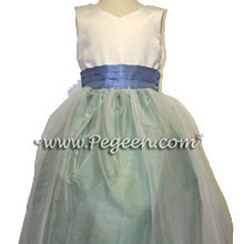 apple green and ocean blue flower girl dresses