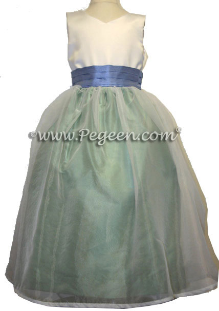 Custom Celedon Green and Ocean Blue Flower Girl Dresses Style 301