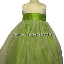 Apple green flower girl dresses in silk