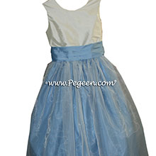 Style 301 in Baby Blue and Ivory Custom flower girl dresses