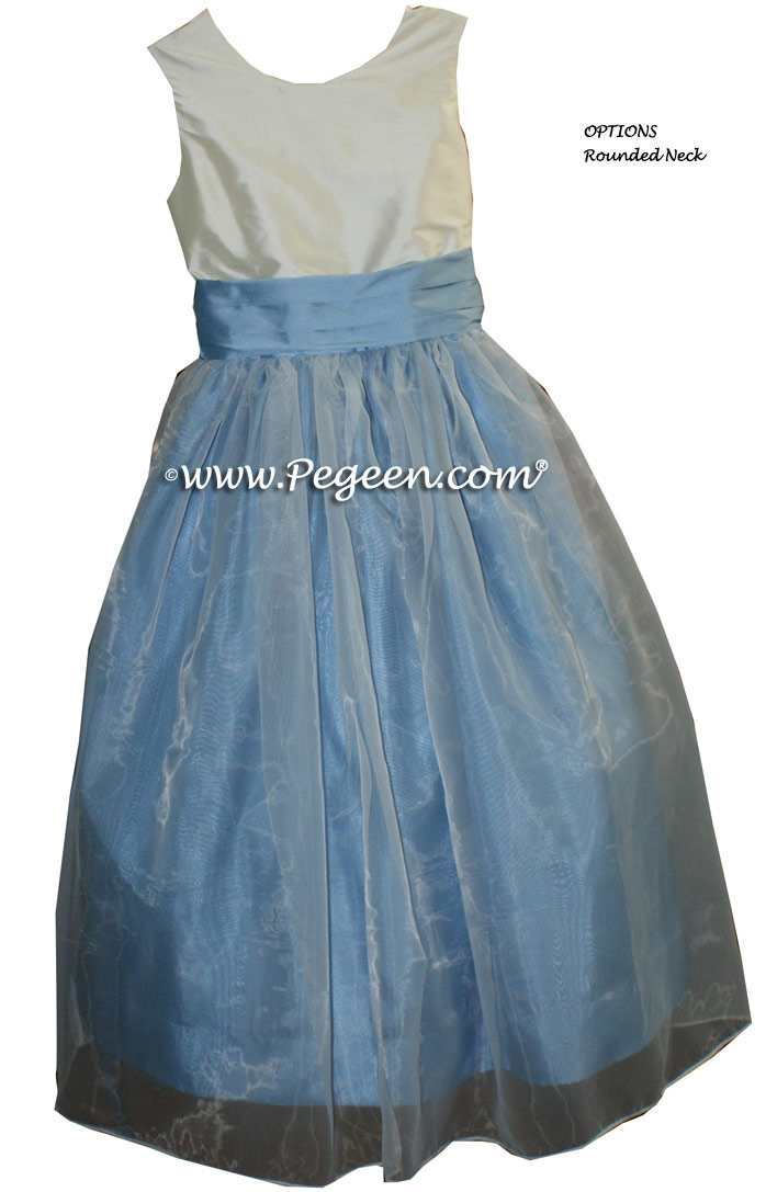 Custom flower girl dress Style 301 in Baby Blue and Ivory | Pegeen