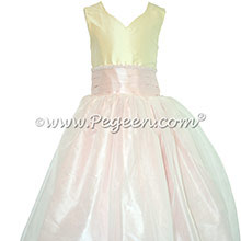 Silk FLOWER GIRL DRESSES Bisque and Peony Pink with a Tulle Skirt and Beading Style 301