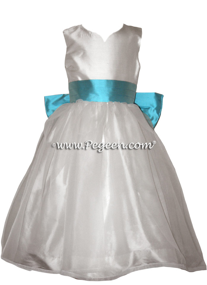 Antique White and Bahama Breeze - Classic Flower Girl Dress  Style 301