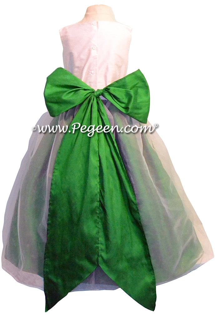 Emerald Green and Antique White Silk and Organza Flower Girl Dresses