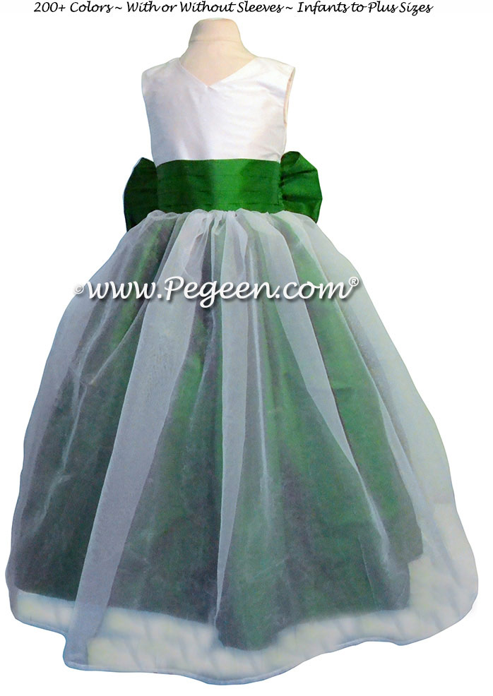 Emerald Green And Antique White Silk Organza Flower Dresses