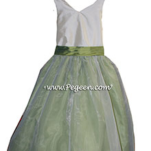 Blue-Green and Ivory Custom flower girl dresses