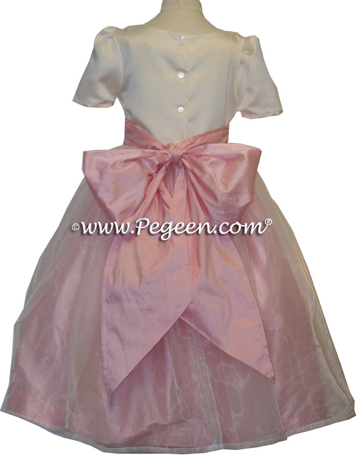 Hibiscus Pink and Ivory Custom flower girl dresses - Classic Style 301