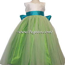 Green Tulle, key lime green, New Ivory and oceanic blue Silk Flower Girl Dresses