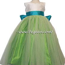 Green Tulle, key lime green, New Ivory and oceanic blue Silk Flower Girl Dresses