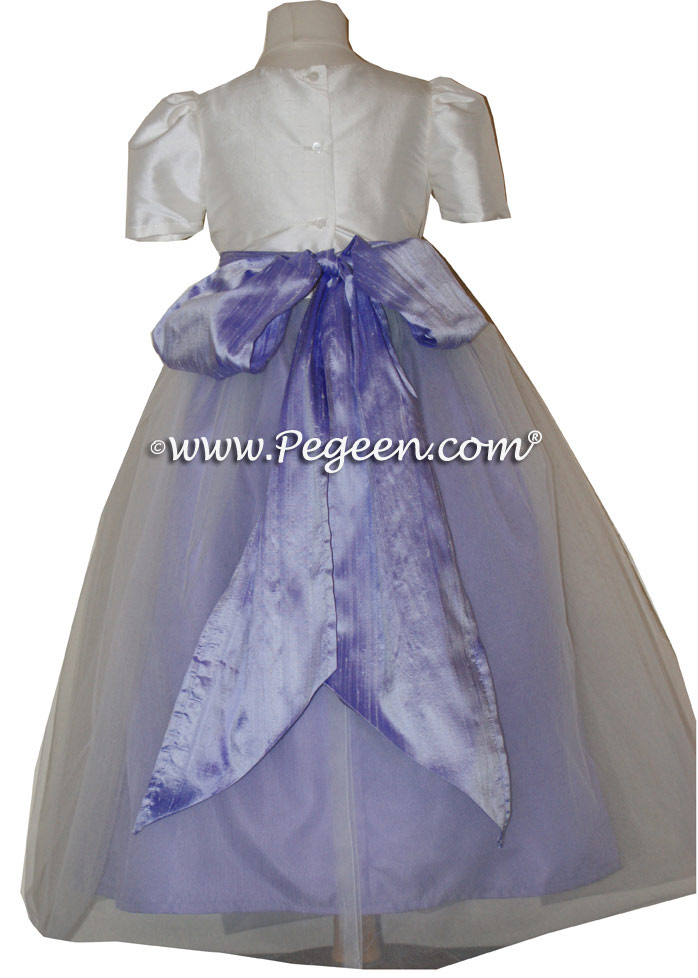 Custom flower girl dresses in Lilac and White - Classic Style 301