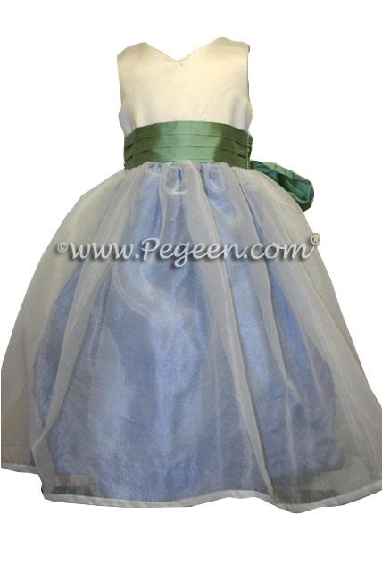 Custom Celedon Green and Ocean Blue Flower Girl Dresses Style 301