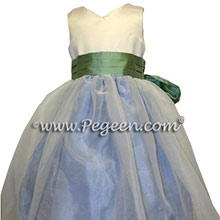 OCEAN BLUE AND CELEDON flower girl dresses