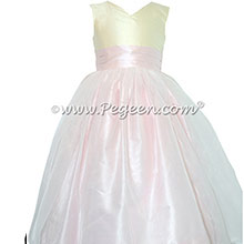 Silk FLOWER GIRL DRESSES Bisque and Peony Pink with a Tulle Skirt