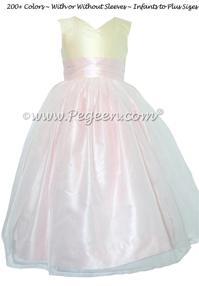 Bisque and Peony Pink Silk and Organza Silk Style 301 Flower Girl Dresses