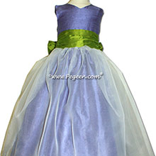 Periwinkle and Grass Green flower girl dress with 3/4 sleeves