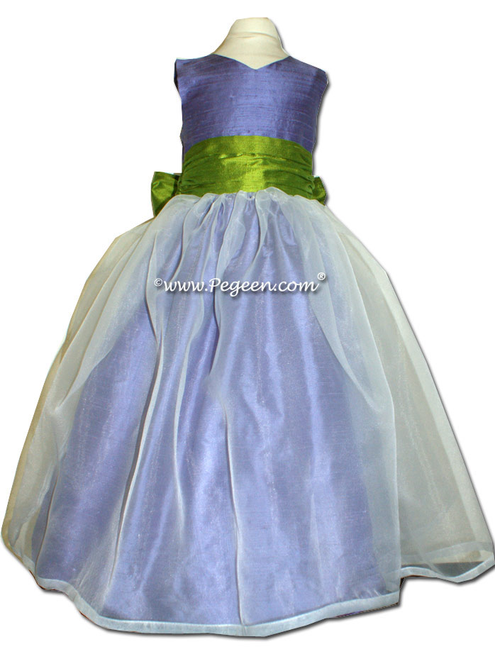 Periwinkle and Grass Green Custom flower girl dress style 301