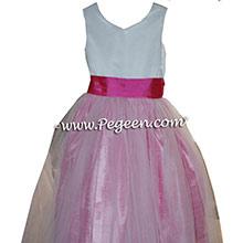 Custom Cerise Pink and Rose Flower Girl Dresses