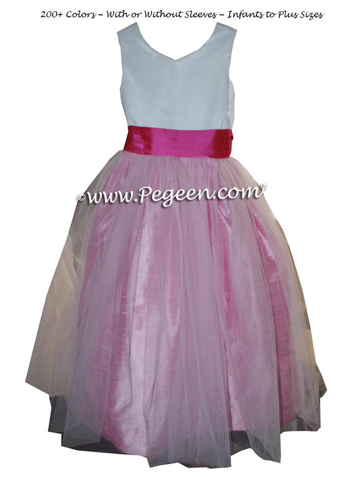 Custom Cerise Pink and Rose Flower Girl Dresses in Silk