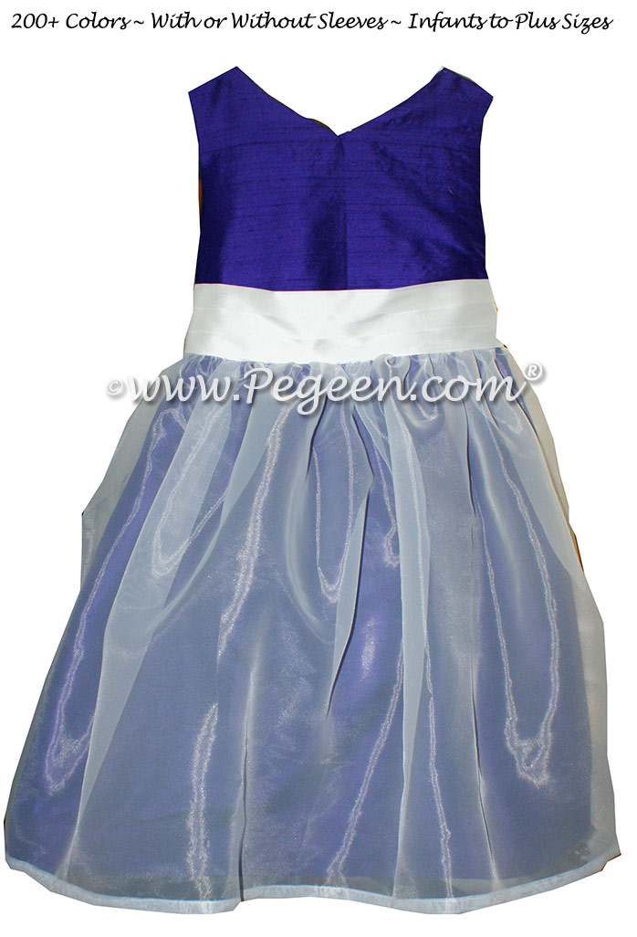 Royal Purple and Antique White Custom Flower Girl Dresses