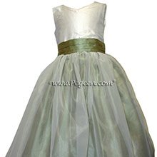 sage green and deep amethyst flower girl dresses